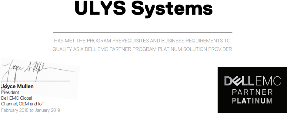 ULYS SYSTEMS Dell EMC Platinum Partner